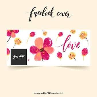Tampa do facebook com flores de aguarela