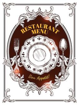 Tampa do vintage do menu do restaurante