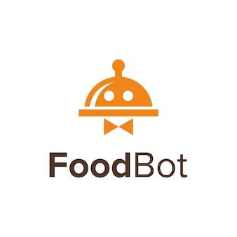 Tampa móvel para alimentos e robô simples, elegante, criativo, geométrico, moderno, logotipo