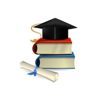 Tampão de graduação, diploma e livros