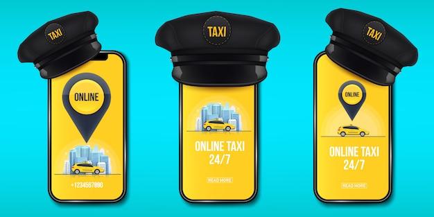 Tampão de motorista de táxi clássico retrô com viseira.