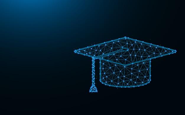 Tampão quadrado acadêmico feito de pontos e linhas em fundo azul escuro, malha de arame de educação poligonal