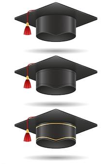 Tampão quadrado do mortarboard da graduação académica.