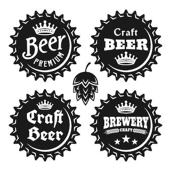 Tampas de cerveja com conjunto de texto de objetos vintage monocromáticos vetoriais isolados no fundo branco