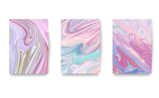 Tampas de design de pintura de tinta líquida de cor de mistura abstrata.