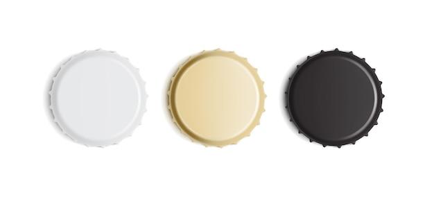 Tampas de garrafa brancas, douradas e pretas isoladas
