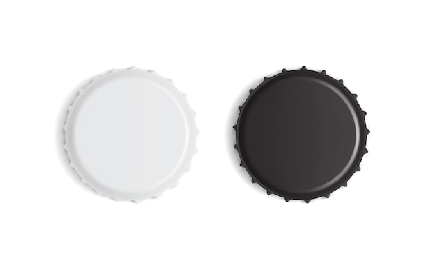 Tampas de garrafa brancas e pretas isoladas no fundo branco