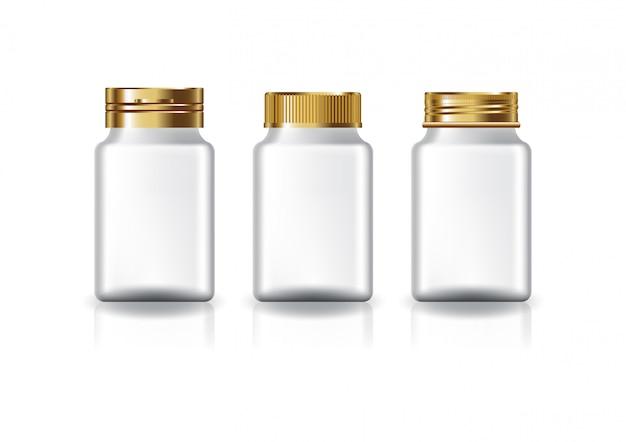 Tampas do ouro de 3 estilos de suplementos ao quadrado branco