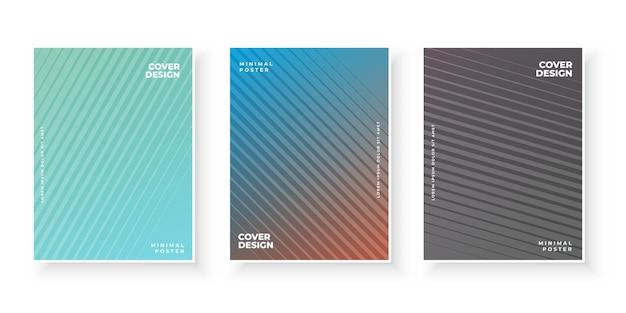 Tampas gradientes coloridas com fundos abstratos modernos