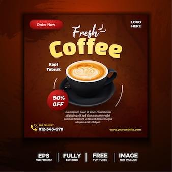 Tamplate de mídia social de menu de café fresco
