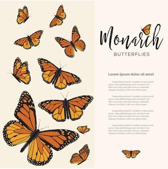 Tamplate de texto do cartão da borboleta monarca
