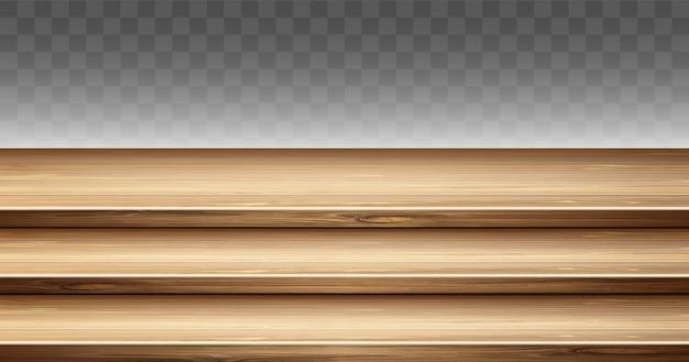 Tampo da mesa de madeira com degrau, suporte para display de 3 camadas