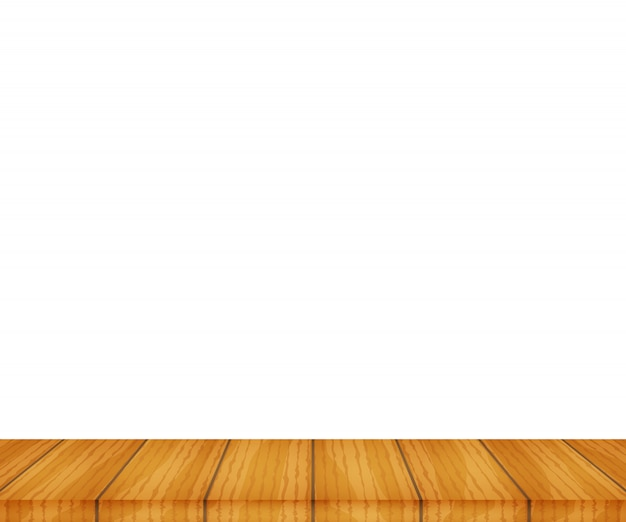 Tampo da mesa de madeira de vetor no fundo branco