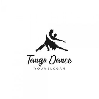 Tango dançando homem e mulher silhueta logo