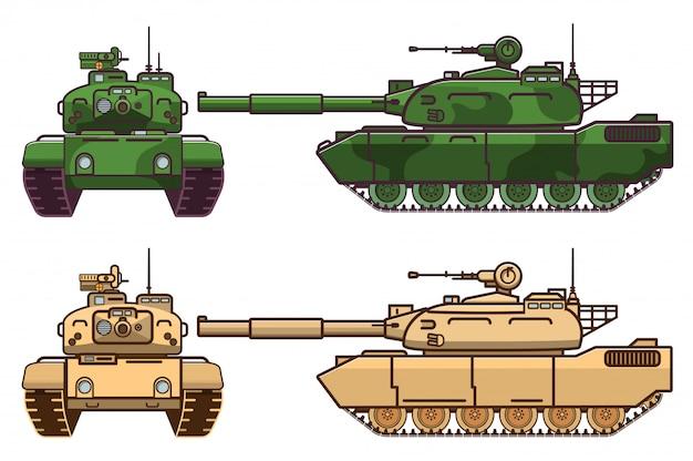 Tanque blindado militar moderno com uma arma na torre.