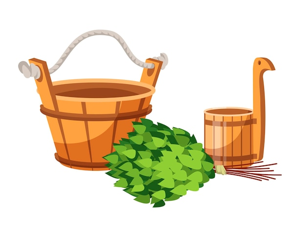 Tanque de madeira, tubo, recipiente de concha e vassoura de carvalho verde isolado no branco