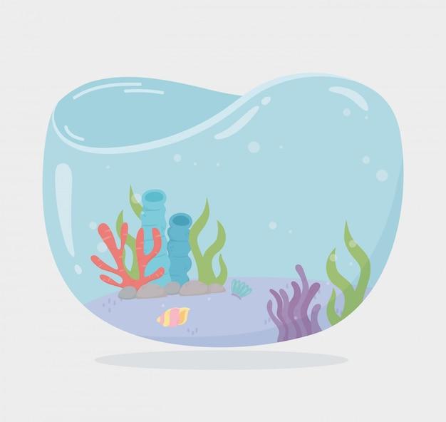 Tanque de peixes em forma de água de conchas de recife de algas para peixes sob a ilustração vetorial de desenhos animados do mar