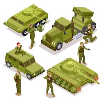 Tanque, soldados e carros militares. ilustração isométrica