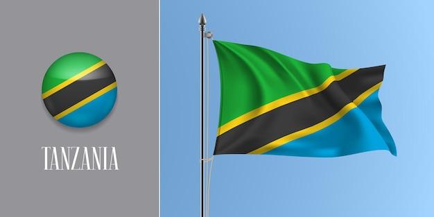 Tanzânia agitando bandeira no mastro e redondo