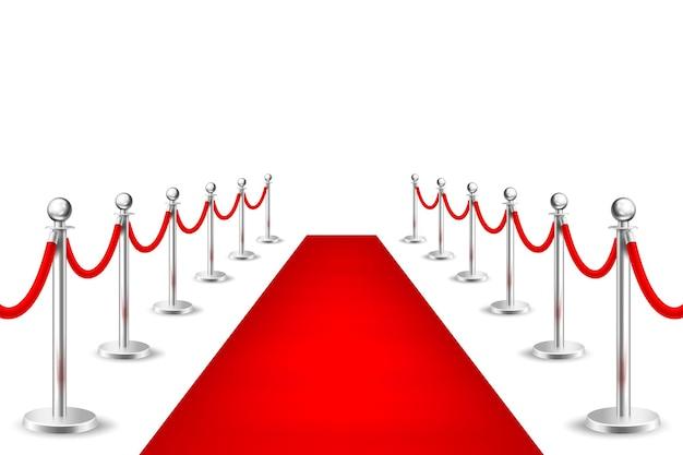 Tapete de evento vermelho de vetor realista e barreiras de prata isoladas no fundo branco. modelo de design, clipart, ilustração eps10.