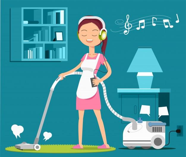 Tapete de limpeza com uma música para relaxar no trabalho