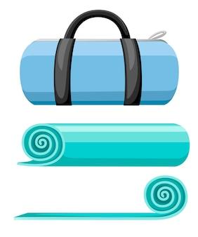 Tapete para exercícios e bolsa esportiva. tapete de ioga turquesa aberto e enrolado. ilustração em fundo branco.
