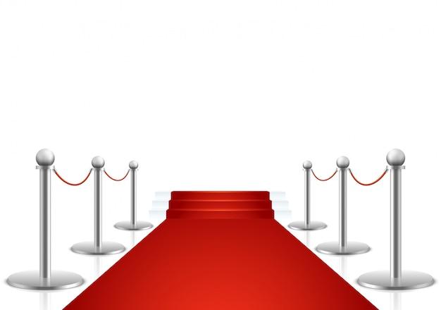 Tapete vermelho com escadas