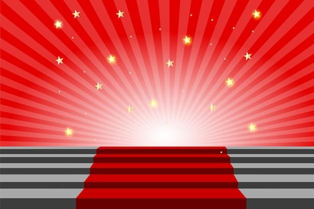 Tapete vermelho cor de escada, triunfo e conceito de sucesso