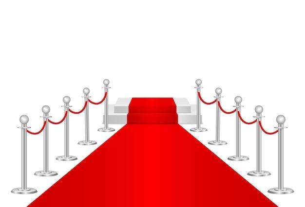 Tapete vermelho e barreiras de caminho 3d. evento vip, celebração de luxo. postes de barreira de corda de fila de ouro. cerimônia de show de estreia. entrada de luxo para evento vip ou festa de celebridades. ilustração vetorial