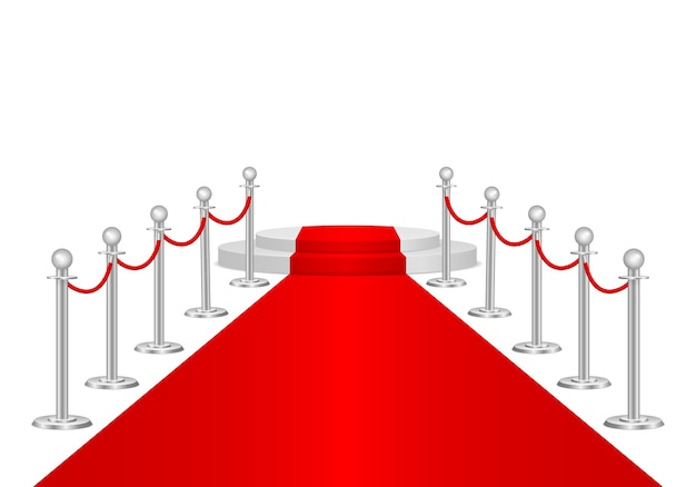 Tapete vermelho e barreiras de caminho 3d. evento vip, celebração de luxo.
