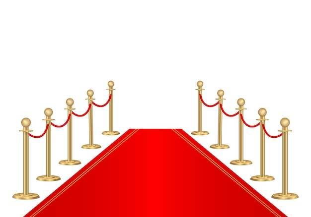 Tapete vermelho e barreiras de caminho. evento vip, celebração de luxo.