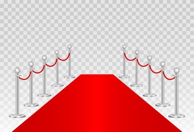 Tapete vermelho e barreiras de caminho
