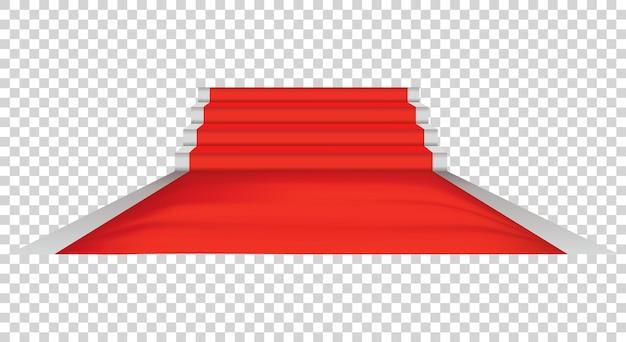 Tapete vermelho e cerimônia de celebridades, plataforma de eventos. evento exclusivo. conceito de estréia, gala, cerimônia ou prêmio do filme.