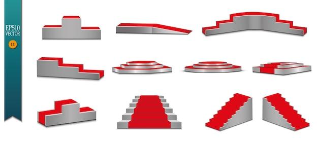 Tapete vermelho e pódio redondo com efeito de luzes