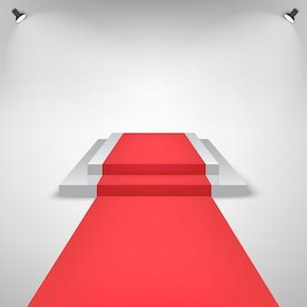 Tapete vermelho em um palco pódio para prêmio com efeito de luzes. palco branco com escadas. pedestal para vencedores.