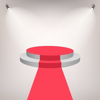 Tapete vermelho em um palco pódio para prêmio com efeito de luzes