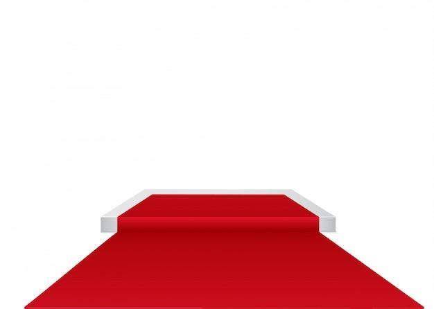 Tapete vermelho em um pódio circular. o pódio dos vencedores. palco com para cerimônia de premiação.
