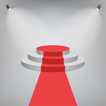 Tapete vermelho em um pódio do palco. pedestal