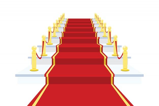 Tapete vermelho na ilustração vetorial de escada