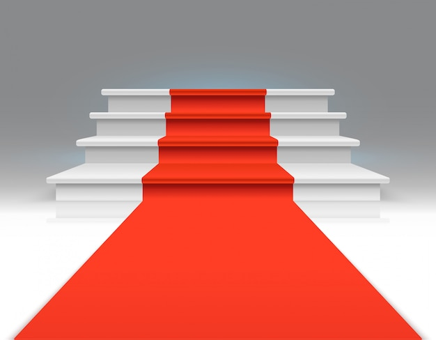 Tapete vermelho nas escadas brancas. sucesso, crescimento do negócio e fundo exclusivo do sumário do vetor da concessão. tapete na escada, até o pódio, ilustração de escadaria
