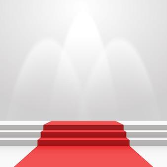 Tapete vermelho nas escadas