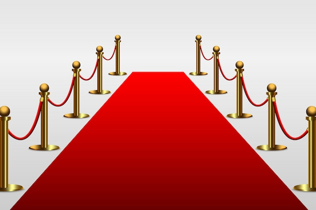 Tapete vermelho para celebridade com barreira de corda