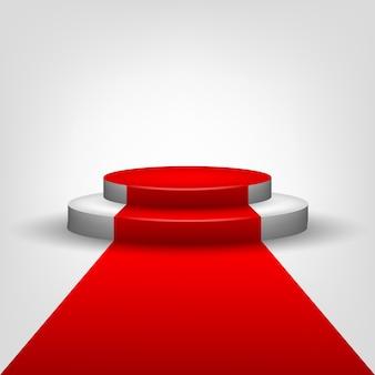 Tapete vermelho para o palco do pódio