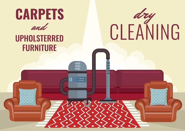 Tapetes de limpeza a seco e móveis estofados.