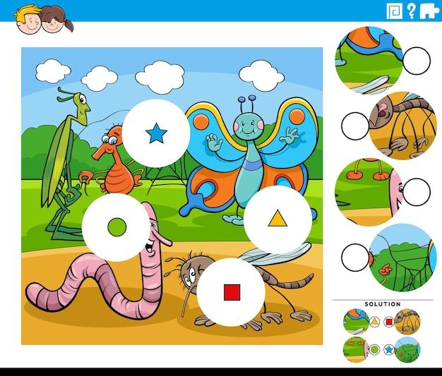 Tarefa de combinar peças com personagens de desenhos animados de insetos