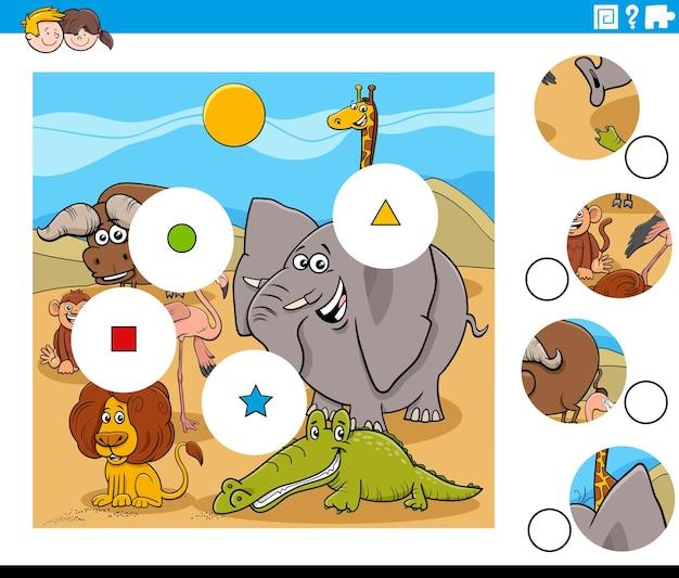 Tarefa de combinar peças com personagens de quadrinhos de animais