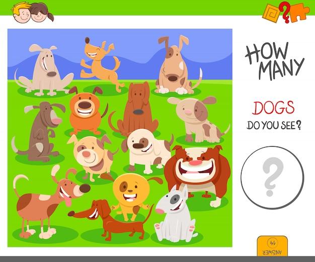 Tarefa de contagem educacional para crianças com cães