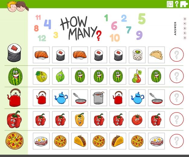 Tarefa de contagem para crianças com objetos alimentares
