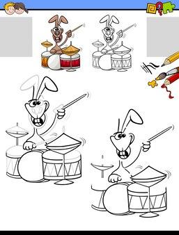 Tarefa de desenho e colorir com coelho tocando bateria