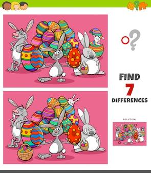 Tarefa de diferenças com personagens de desenhos animados da páscoa